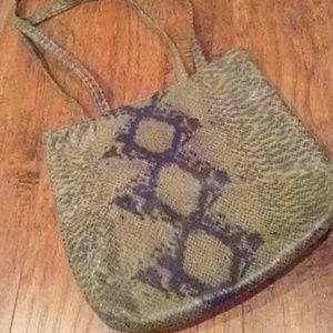 Green & Black Diamondback Faux Snakeskin Bag NWOT